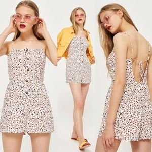 Topshop Ditsy Crochet Floral Playsuit